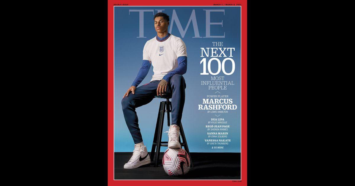 Capa de 'Time' no iPhone enquanto Marcus Rashford é homenageado pela campanha contra a fome infantil