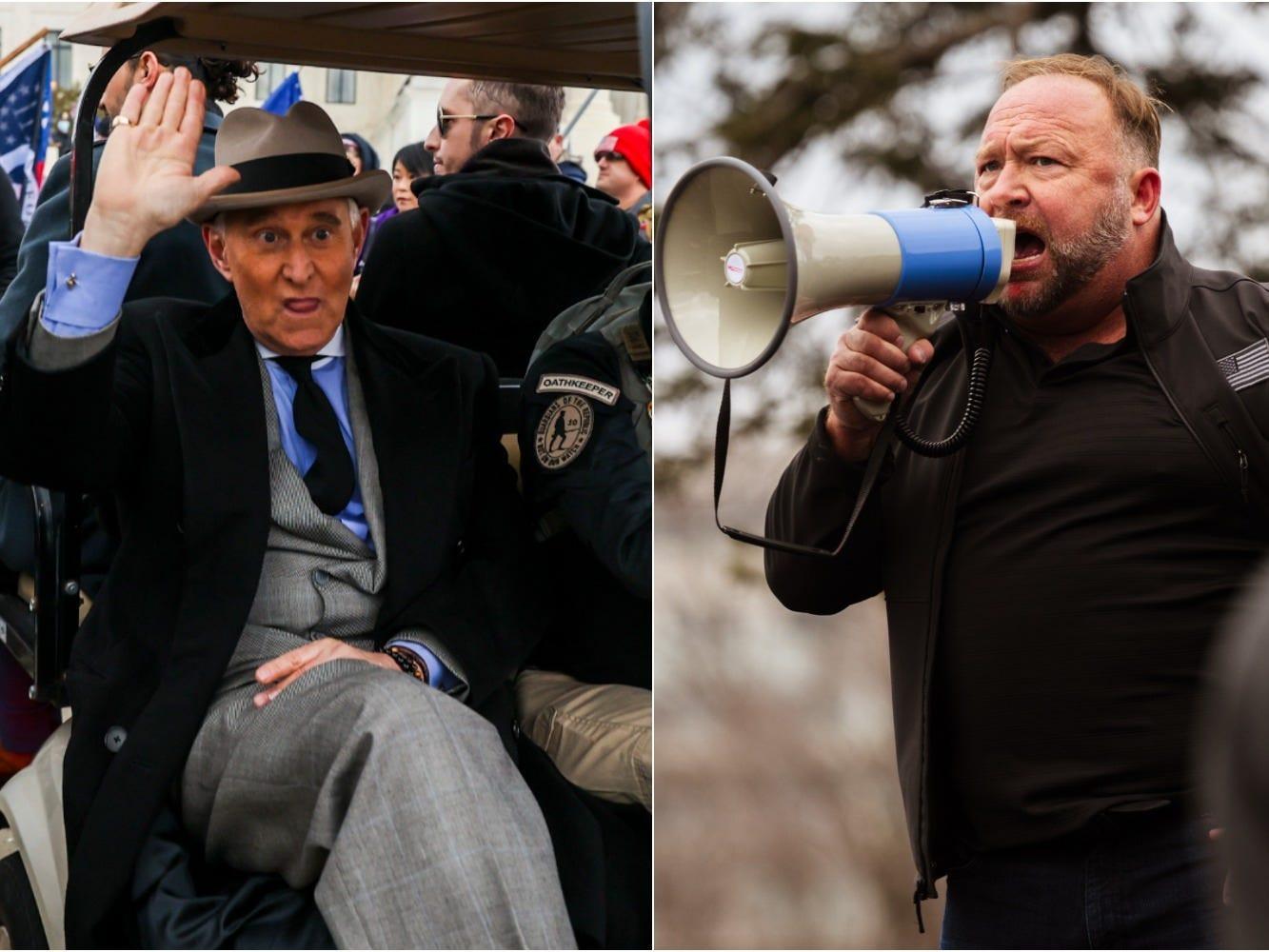 O Departamento de Justiça e o FBI estão investigando se Roger Stone e Alex Jones desempenharam um papel no cerco ao Capitólio, diz o relatório