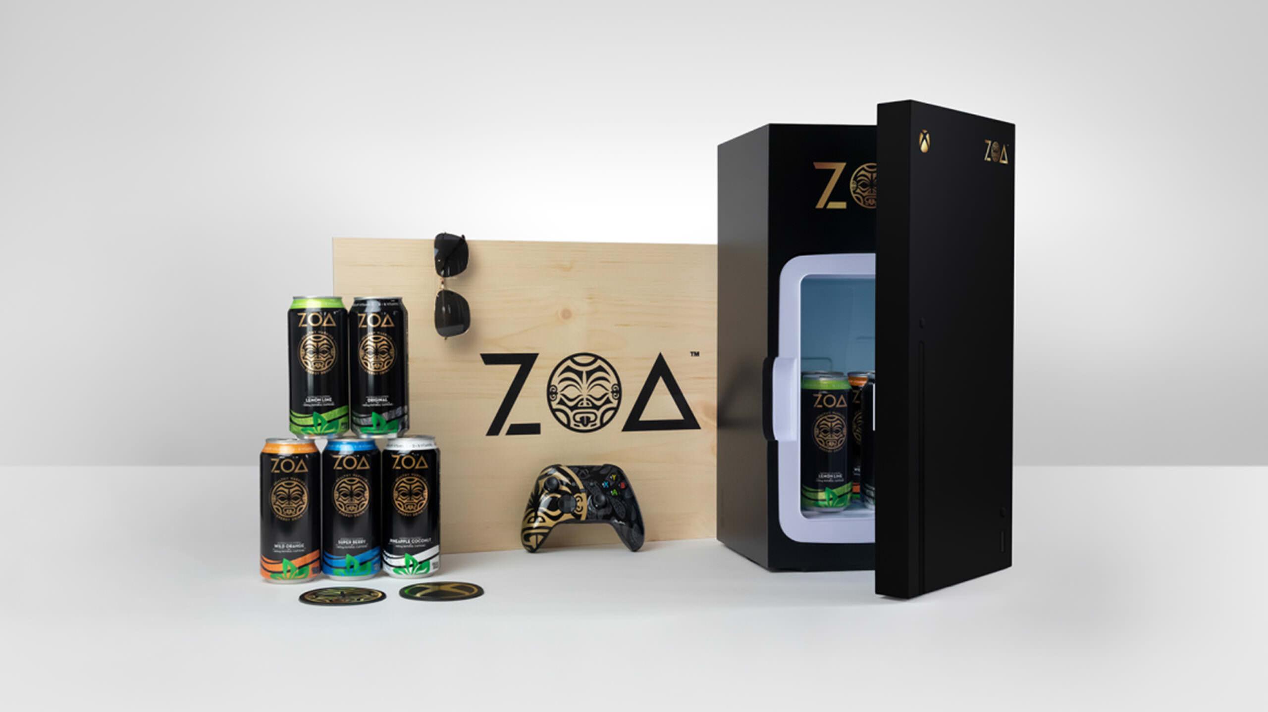 Microsoft promove a marca de bebidas energéticas The Rock com minigeladeira Xbox Series X