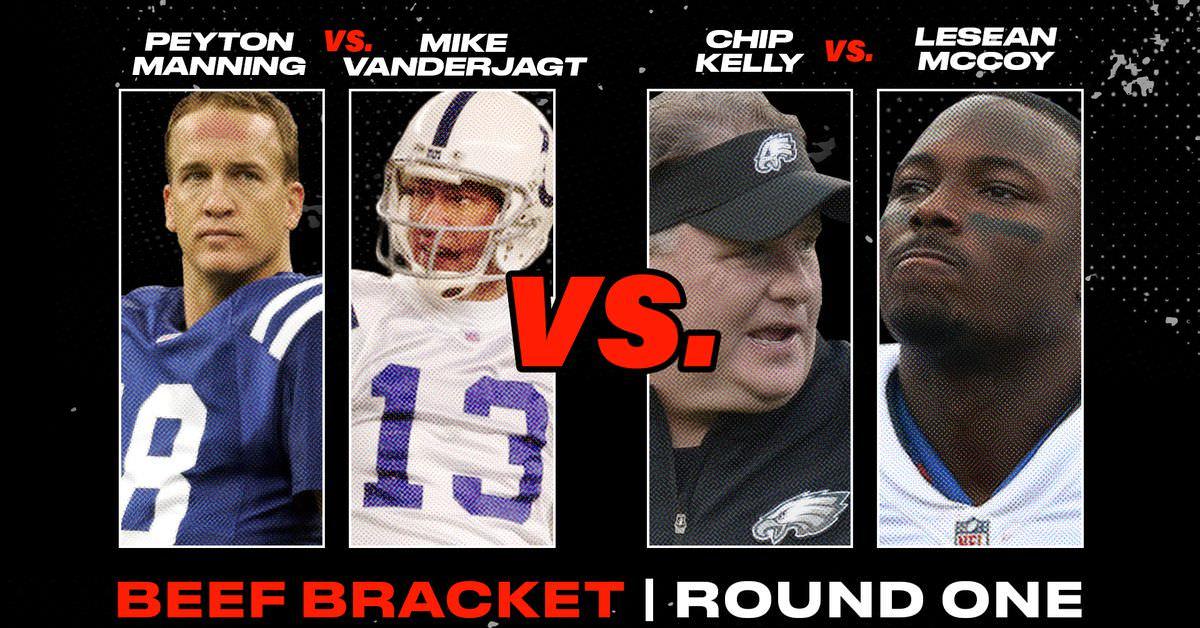 BEEF VOTE: Peyton Manning vs. Mike Vanderjagt OU Chip Kelly vs. LeSean McCoy
