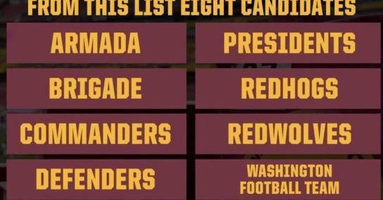 Cada nome potencial para o Washington Football Team, classificado