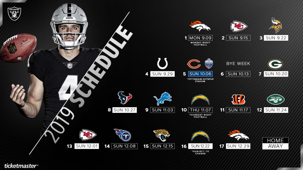 Raiders anunciam datas e horários para a temporada regular de 2019 – Raiders.com