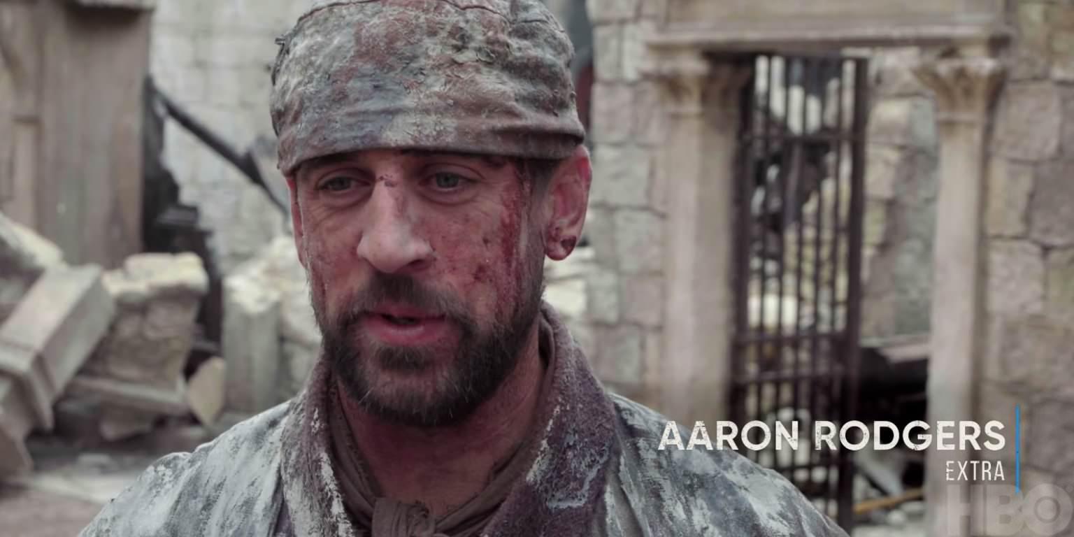 O jogador da NFL Aaron Rodgers fez uma participação especial em 'Game of Thrones', e os fãs estão se perguntando 'onde está Waldo?'