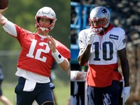 Tom Brady entrando em algum trabalho com Josh Gordon