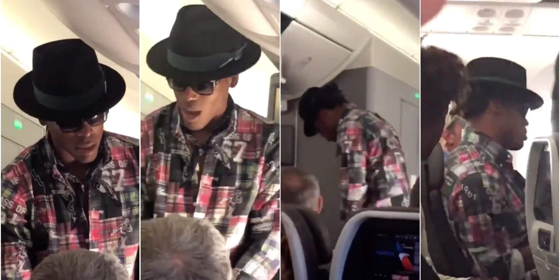 A estrela da NFL Cam Newton teria tentado pagar a um passageiro US $ 1.500 para trocar de lugar com ele em um voo, mas foi recusado