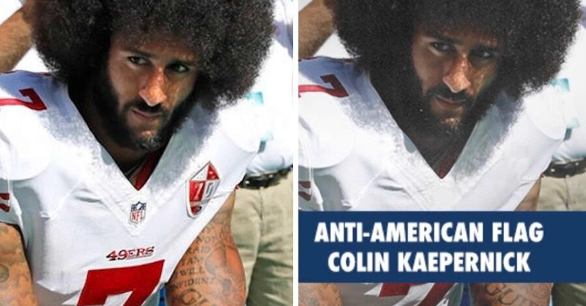 A pele de Colin Kaepernick aparece escurecida em um anúncio republicano de arrecadação de fundos