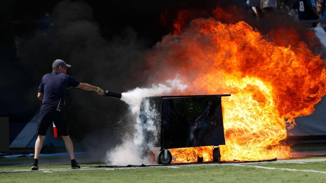 Incêndio: pirotecnia de campo da NFL recebe breve proibição