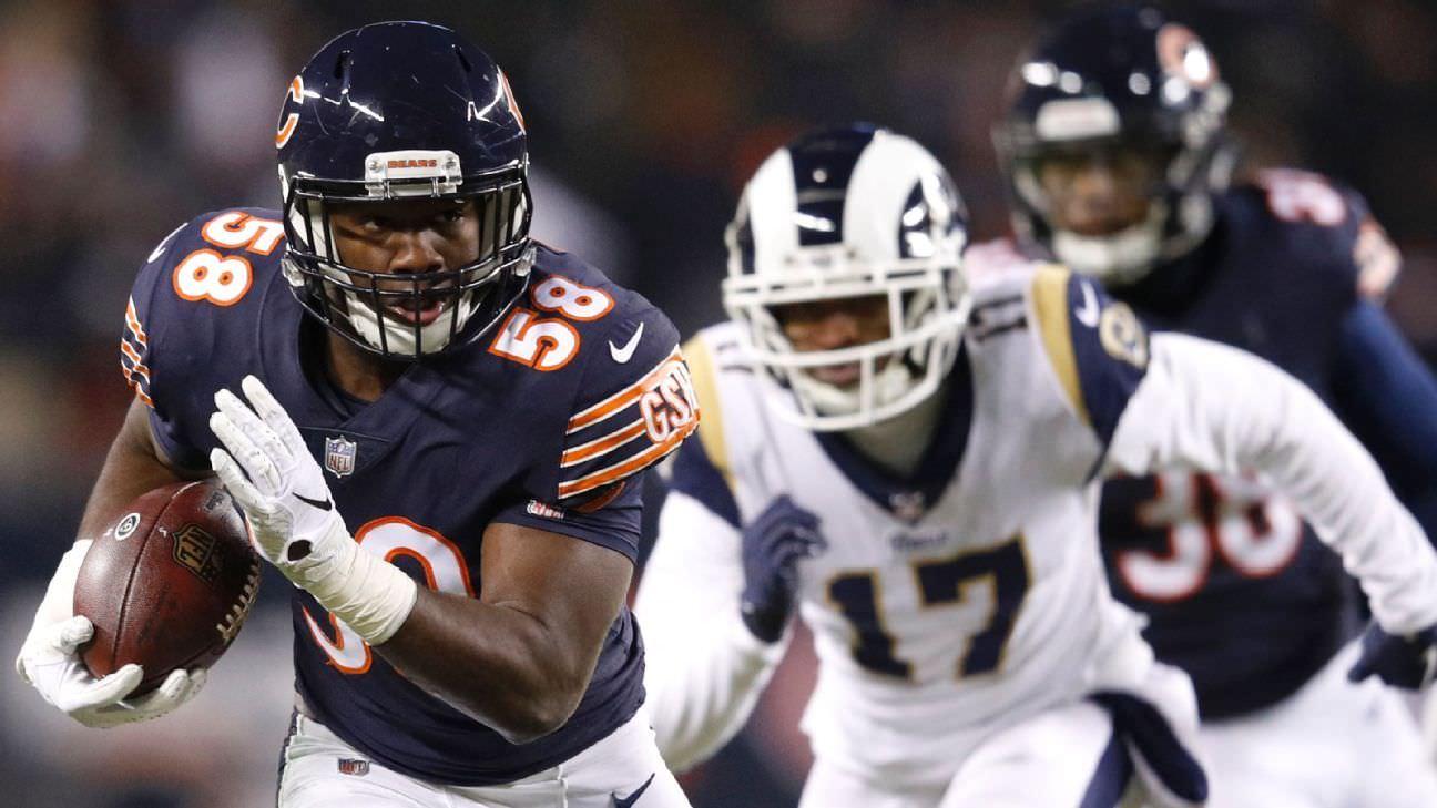 Roquan Smith, lateral-esquerdo do Bears, descartou o restante do jogo de quinta-feira com lesão no peitoral – ESPN