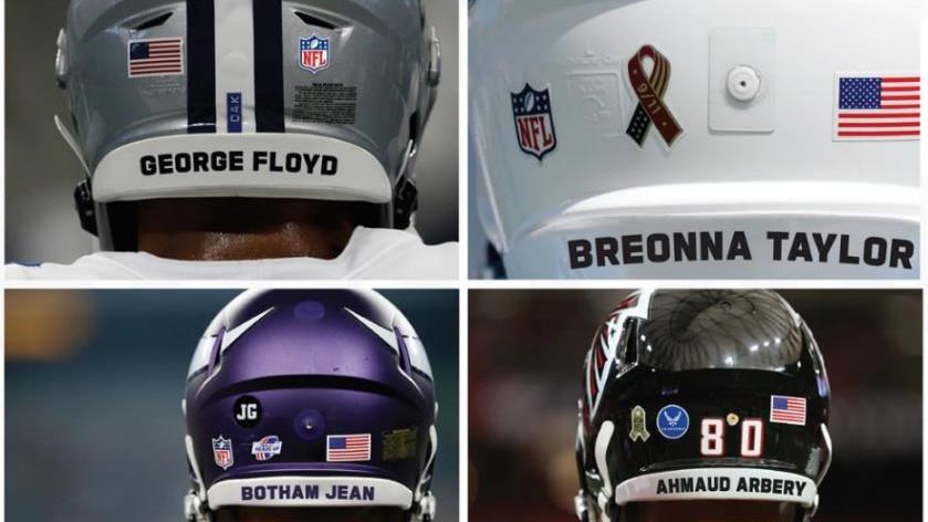 Estêncil 'End Racism' parte do plano de justiça social da NFL