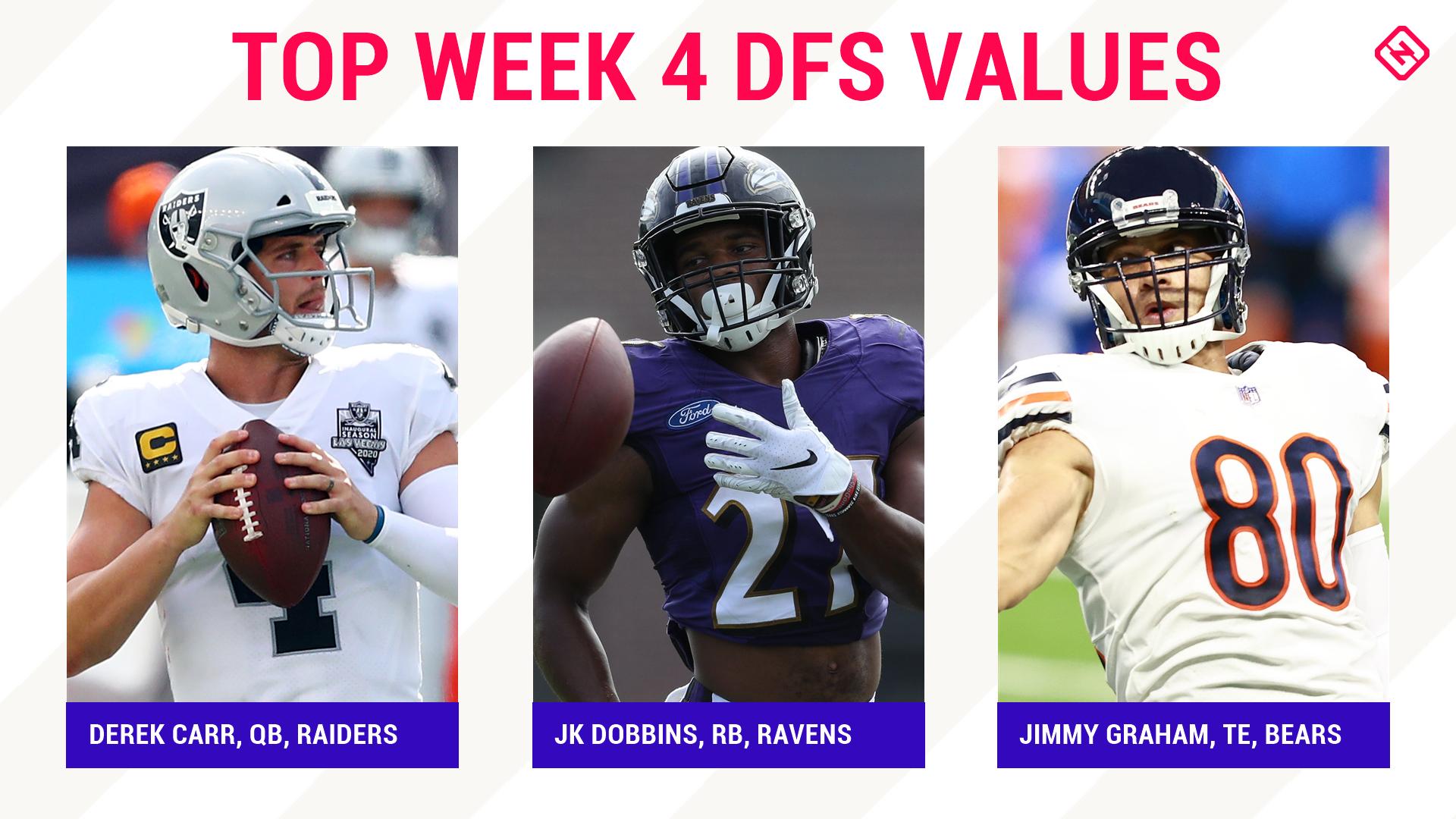 Semana 4 NFL DFS Picks: jogadores de melhor valor, travessas para DraftKings, escalações diárias de futebol de fantasia FanDuel